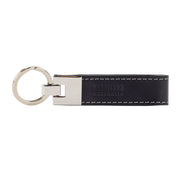 Leather Keyring Black With Grey Stitching - Harrisson Australia