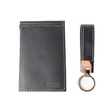 Load image into Gallery viewer, Limited Offer, Black Billfold Wallet With Grey Stitching and Matching Keyring