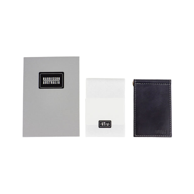 Leather Billfold Wallet Black With Grey Stitching - Harrisson Australia