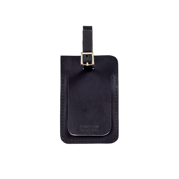 Leather Luggage Tag Black - Harrisson Australia