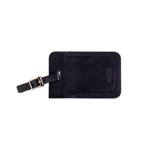 Leather Luggage Tag Black