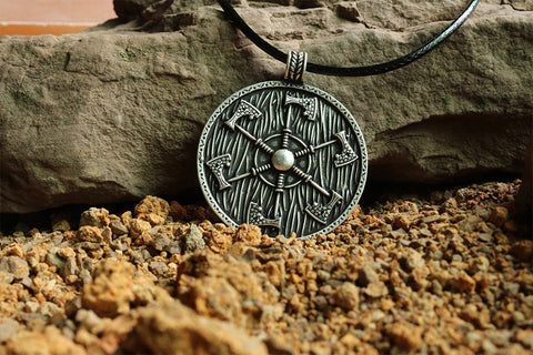 Shield of Perun Slavic Axes Necklace