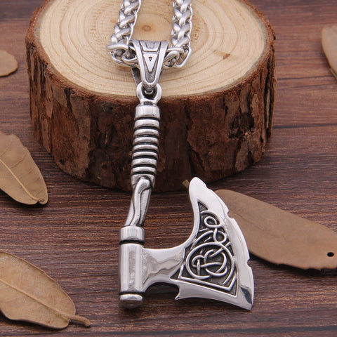 Stainless Steel Viking Axe Pendant Necklace Rune Axe Bottle Opener