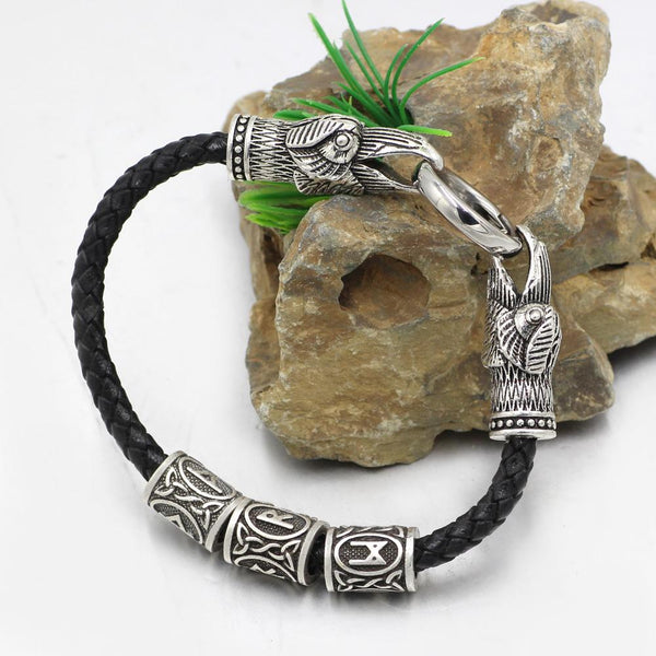 GENUINE LEATHER WITH 3 RUNE RAVEN BRACELET