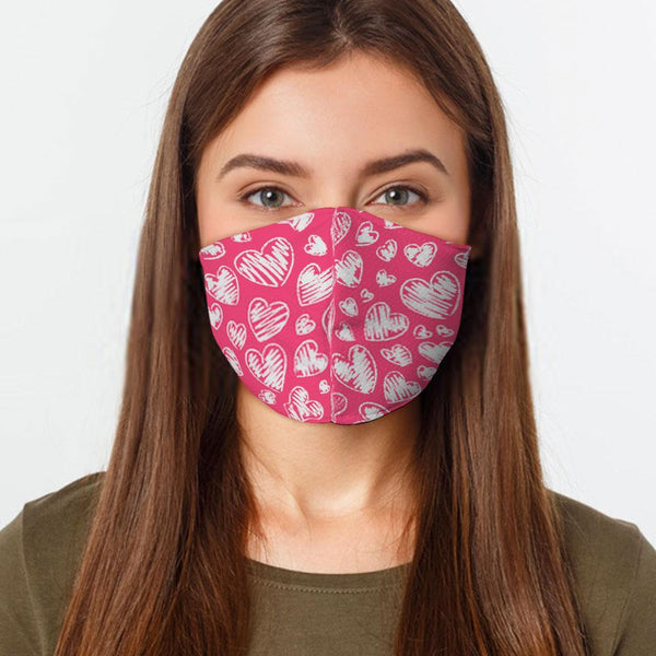 Face Mask Pink Hearts Face Cover, USA Made Mouth Guard, Colorful Print Face Covering