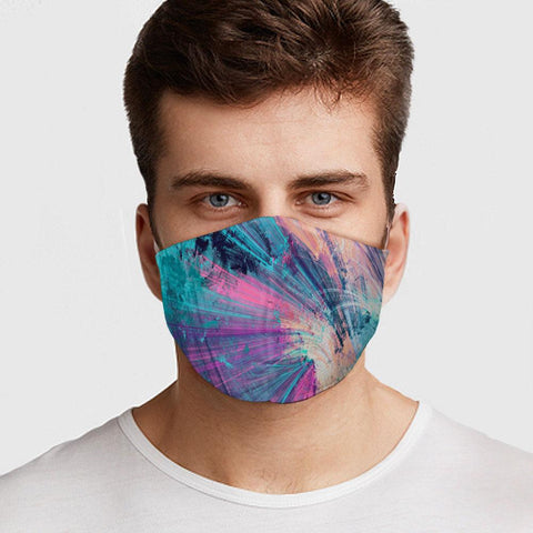 Face Mask Abstract Colors Face Cover, USA Made Mouth Guard, Colorful Print Face Covering