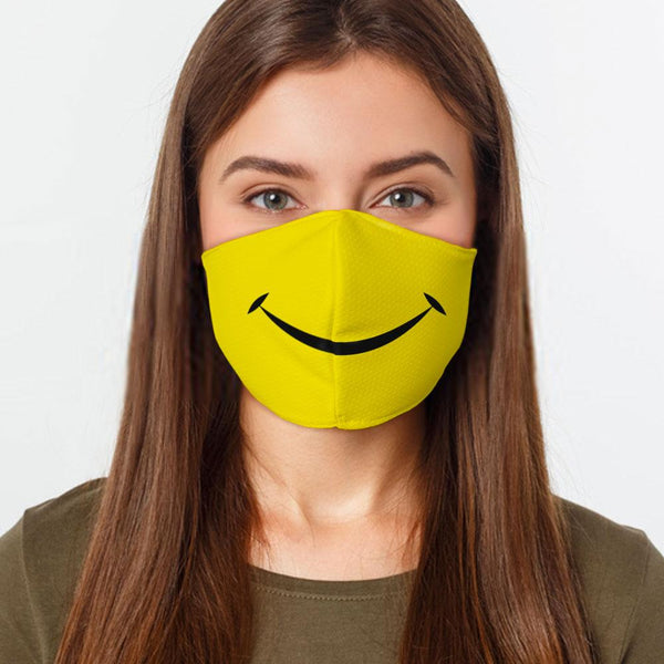Face Mask Smiley Face Face Cover, USA Made Mouth Guard, Colorful Print Face Covering