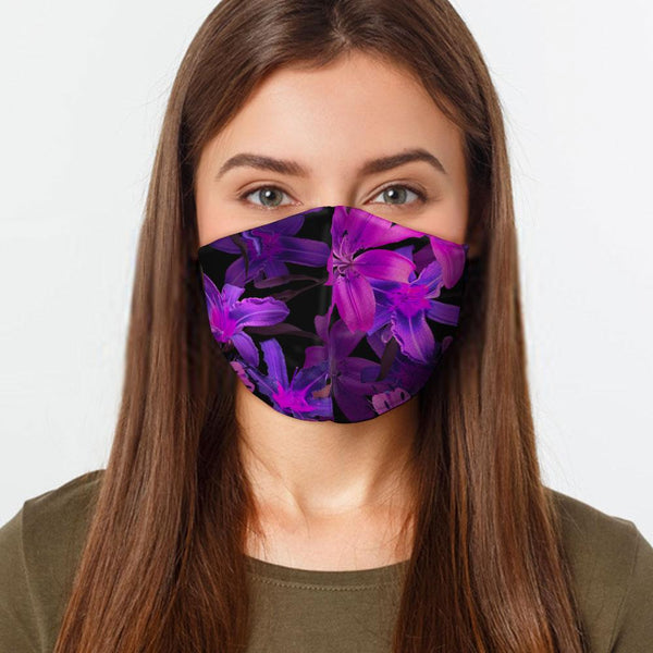 Face Mask Purple Flowers Face Cover, USA Made Mouth Guard, Colorful Print Face Covering