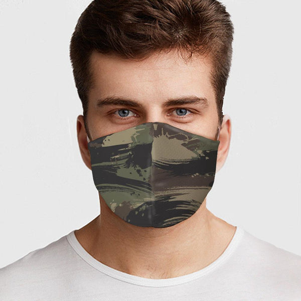 Face Mask Splash Green Camo Face Cover, USA Made Mouth Guard, Colorful Print Face Covering