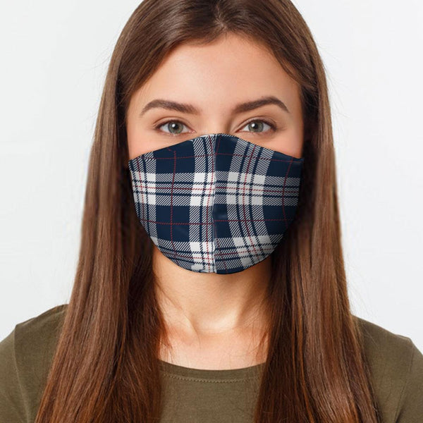 Face Mask Navy Plaid Face Cover, USA Made Mouth Guard, Colorful Print Face Covering