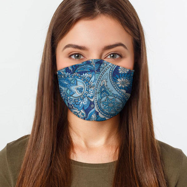 Face Mask Blue Paisley Face Cover, USA Made Mouth Guard, Colorful Print Face Covering