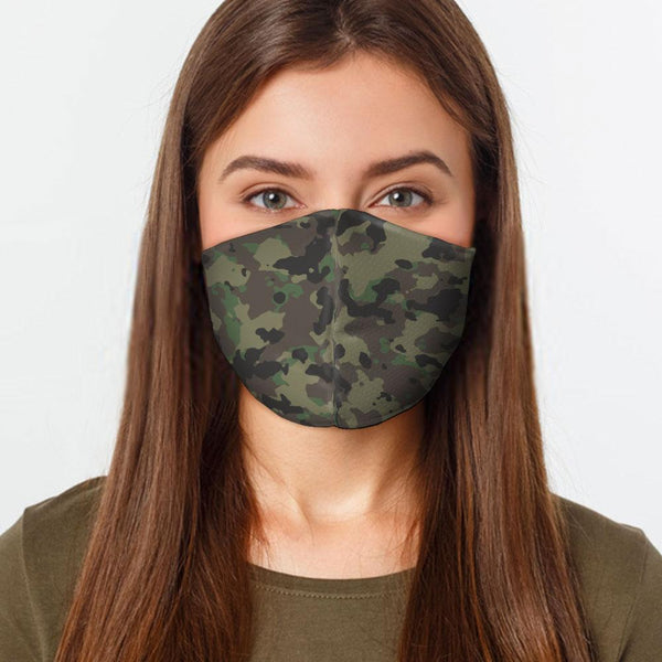 Face Mask Green Army Camo Face Cover, USA Made Mouth Guard, Colorful Print Face Covering