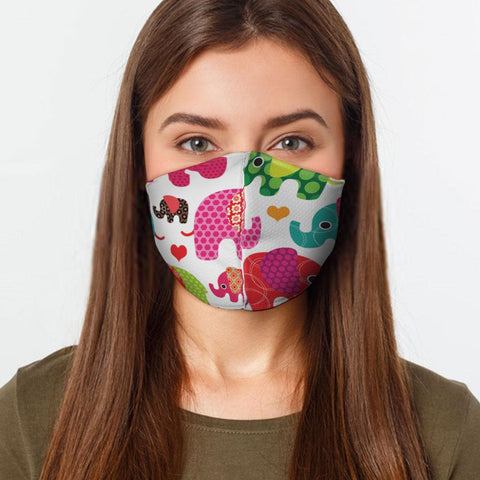 Face Mask Elephants Face Cover, USA Made Mouth Guard, Colorful Print Face Covering