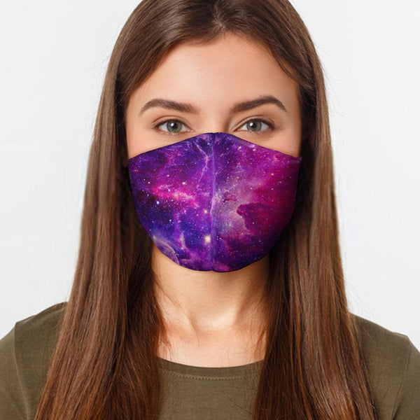 Face Mask Galaxy Face Cover, USA Made Mouth Guard, Colorful Print Face Covering
