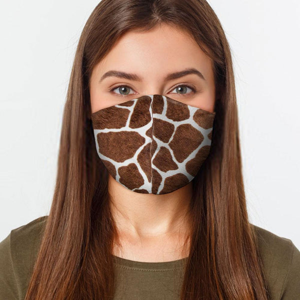 Face Mask Giraffe Pattern Face Cover, USA Made Mouth Guard, Colorful Print Face Covering