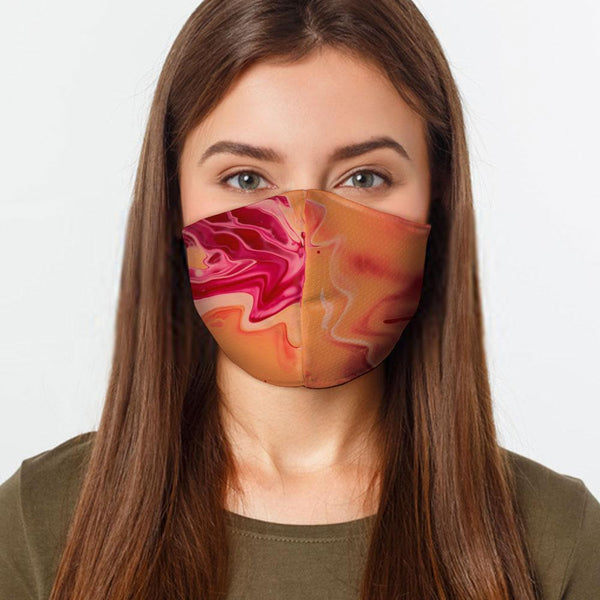 Face Mask Orange Swirl Face Cover, USA Made Mouth Guard, Colorful Print Face Covering