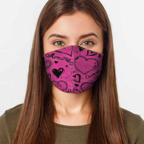 Face Mask Pink Love Hearts Face Cover, USA Made Mouth Guard, Colorful Print Face Covering