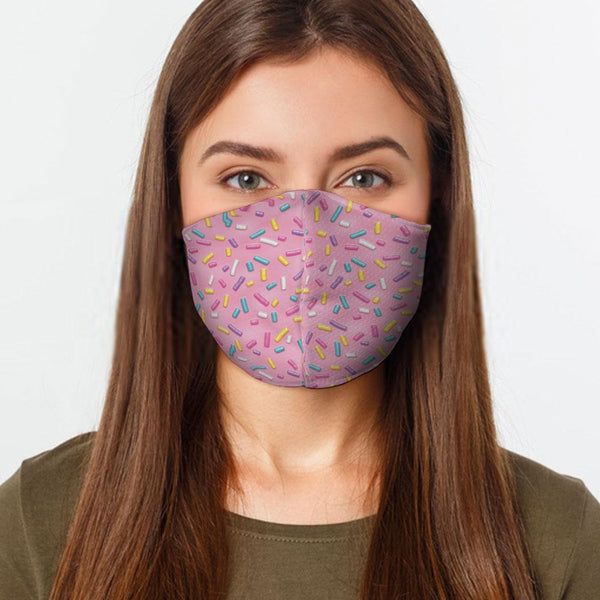 Face Mask Pink Sprinkles Face Cover, USA Made Mouth Guard, Colorful Print Face Covering