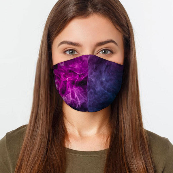 Face Mask Purple Smoke Face Cover, USA Made Mouth Guard, Colorful Print Face Covering