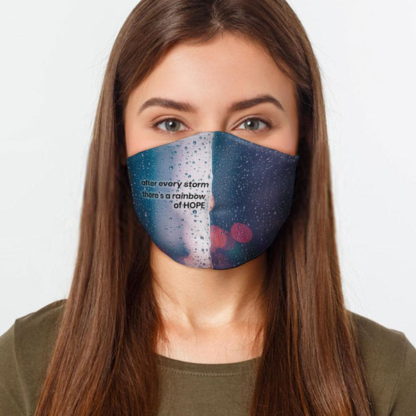 Face Mask Rainbow of Hope Face Cover, USA Made Mouth Guard, Colorful Print Face Covering