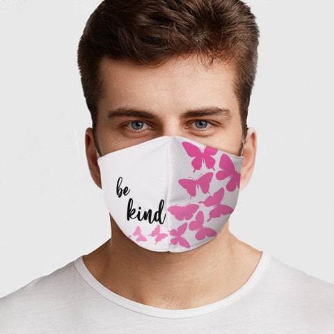 Face Mask Be Kind Butterflies Face Cover, USA Made Mouth Guard, Colorful Print Face Covering