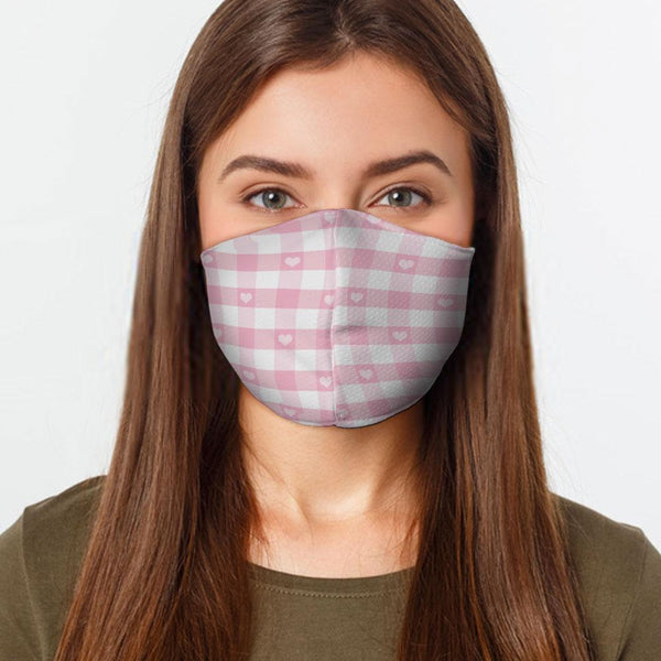 Face Mask Pink Checkered Face Cover, USA Made Mouth Guard, Colorful Print Face Covering
