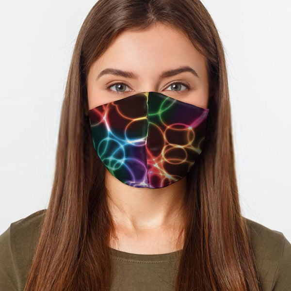 Face Mask Rainbow Bubbles Face Cover, USA Made Mouth Guard, Colorful Print Face Covering