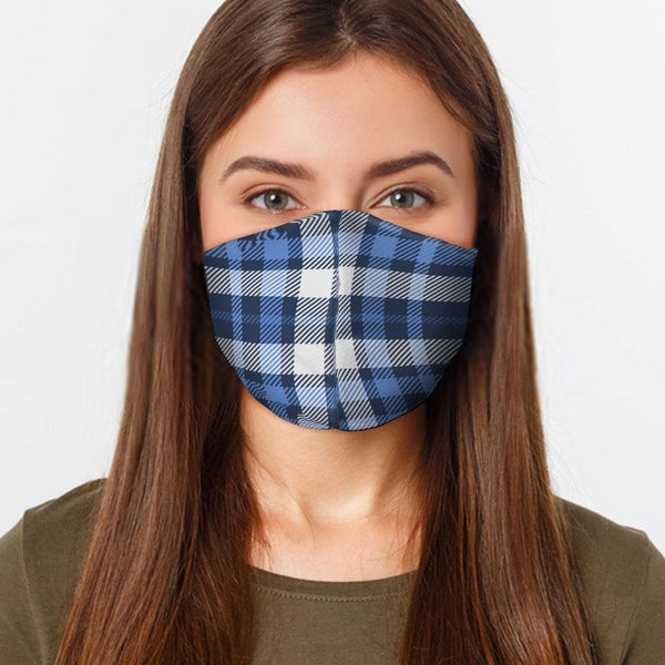 Face Mask Blue White Plaid Face Cover, USA Made Mouth Guard, Colorful Print Face Covering