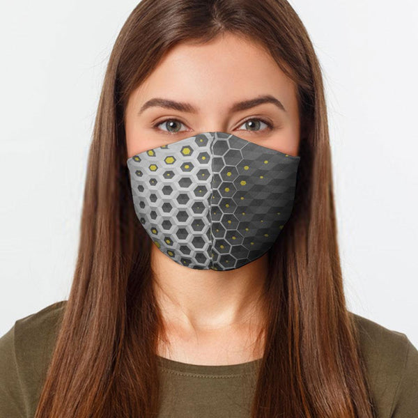 Face Mask Gray Hex Face Cover, USA Made Mouth Guard, Colorful Print Face Covering