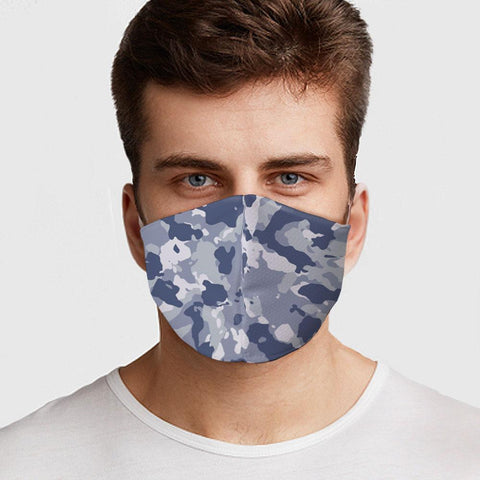 Face Mask Blue Camo Face Cover, USA Made Mouth Guard, Colorful Print Face Covering