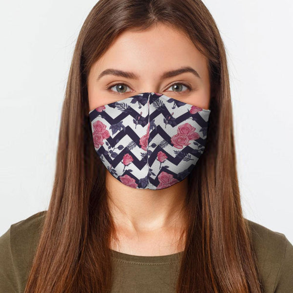 Face Mask Zig Zag Flower Face Cover, USA Made Mouth Guard, Colorful Print Face Covering