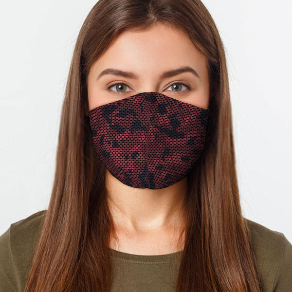 Face Mask Red Camo Face Cover, USA Made Mouth Guard, Colorful Print Face Covering