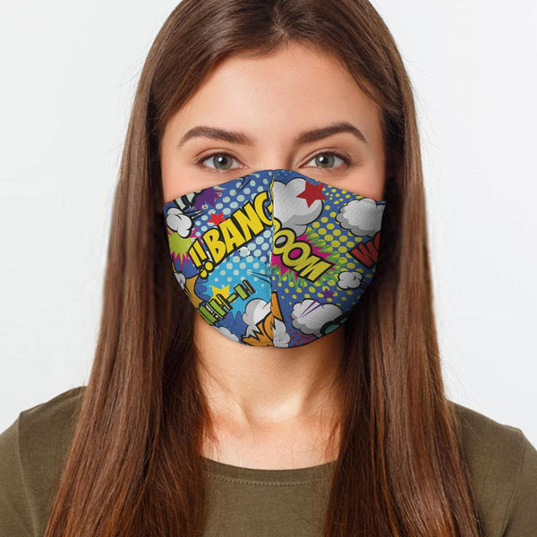 Face Mask Comic Face Cover, USA Made Mouth Guard, Colorful Print Face Covering