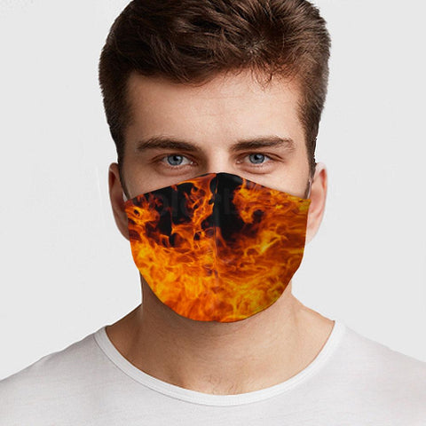 Face Mask Fire Face Cover, USA Made Mouth Guard, Colorful Print Face Covering
