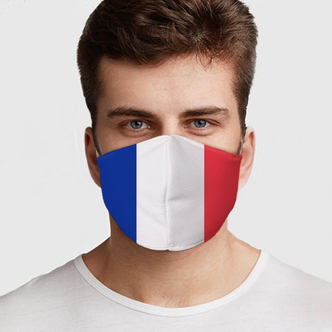 Face Mask French Flag Face Cover, USA Made Mouth Guard, Colorful Print Face Covering