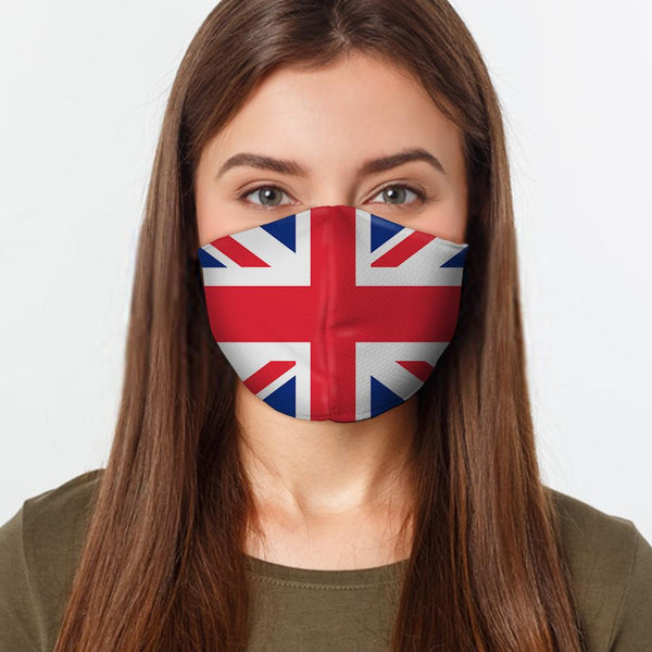 Face Mask UK Flag Face Cover, USA Made Mouth Guard, Colorful Print Face Covering