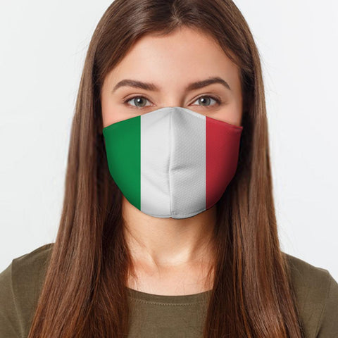 Face Mask Italian Flag Face Cover, USA Made Mouth Guard, Colorful Print Face Covering