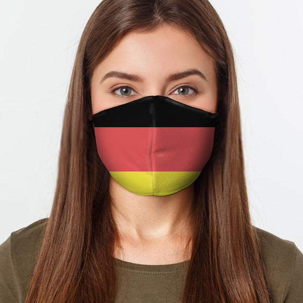 Face Mask German Flag Face Cover, USA Made Mouth Guard, Colorful Print Face Covering