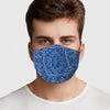 Face Mask Blue Bandana Pattern Washable Face Cover, USA Made Mouth Guard, Colorful Print Face Covering