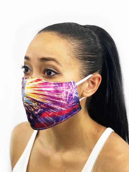 July Fourth Face Cover, USA Made Mouth Guard, Colorful Print Face Covering