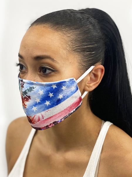 July Celebration Face Cover, USA Made Mouth Guard, Colorful Print Face Covering