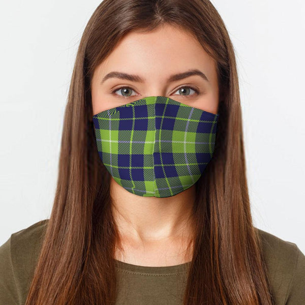 Face Mask Lime Blue Plaid Face Cover, USA Made Mouth Guard, Colorful Print Face Covering