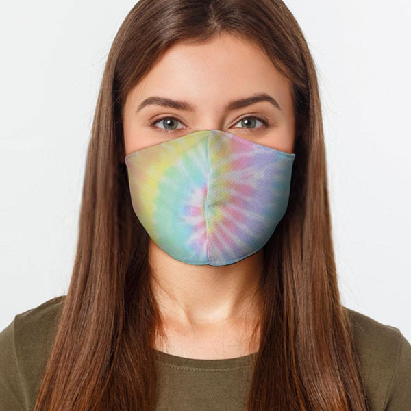 Face Mask Pastel Tie Dye Face Cover, USA Made Mouth Guard, Colorful Print Face Covering