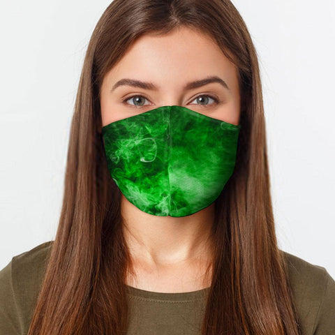 Face Mask Green Smoke Face Cover, USA Made Mouth Guard, Colorful Print Face Covering