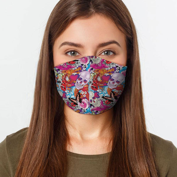 Face Mask Tattoo Skull Face Cover, USA Made Mouth Guard, Colorful Print Face Covering