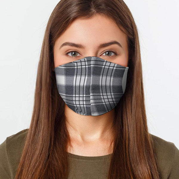 Face Mask Gray Plaid Face Cover, USA Made Mouth Guard, Colorful Print Face Covering