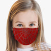 Youth Red Spider Web Face Cover, USA Made Mouth Guard, Colorful Print Face Covering