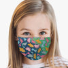 Youth Dinosaurs Face Cover, USA Made Mouth Guard, Colorful Print Face Covering