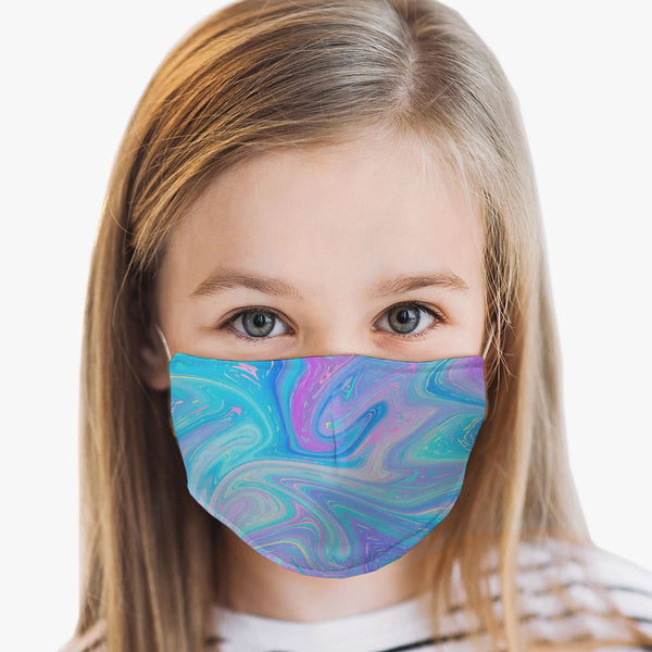 Youth Fantasy Swirl Face Cover, USA Made Mouth Guard, Colorful Print Face Covering