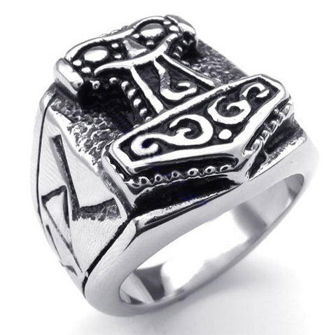 Viking Thor's Hammer Mjolnir Finger Ring